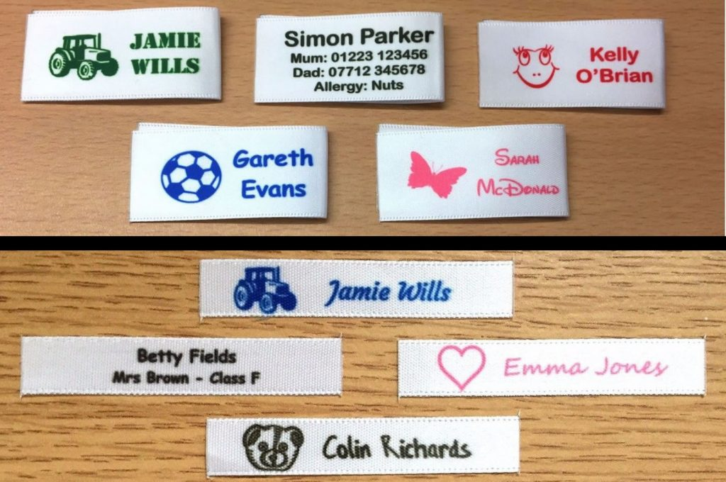 Personalised Sew In Name Labels Tags Tapes 25mm and 10mm